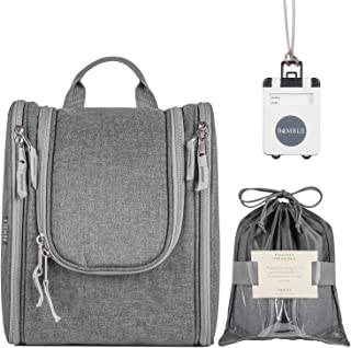 BIMBLE Travel Hanging Toiletry Bag for Men and Women - Large Waterproof Organizer with Swivel Hook for Traveling, Camping or Gym Locker - Gifts of Shoe Bag and Luggage Tag