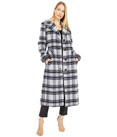 Kate Spade New York Plaid Belted Wool Maxi Coat (Grey Plaid) Women