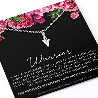 Warrior Jewelry • Encouragement Gifts for Women • Sterling Silver Arrowhead Necklace • Never Stop Fighting • Sobriety Infertility Fuck Cancer Semicolon • Strong Woman • Courageous • Survivor Gift