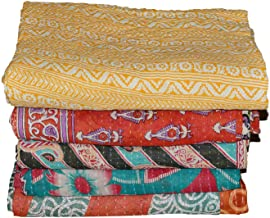 Indian Kantha Quilt Patch Work Cotton Vintage Twin Bedspreads Throw Blanket Made Rally Reversible Bedspread Throw Old Sari...