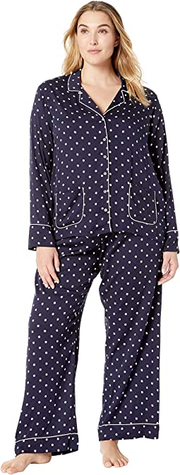 Plus Size Woven Notch Collar PJ Set
