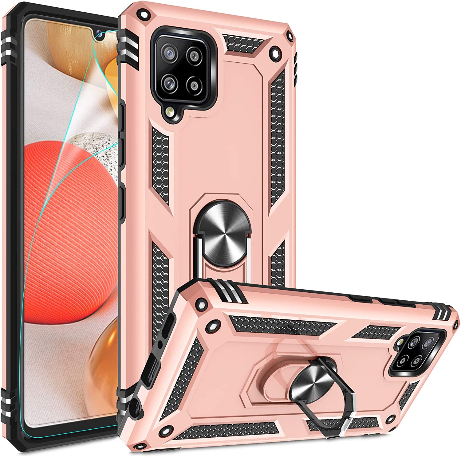 Galaxy A42 5G Case, Galaxy A42 5G Phone Case with HD Screen Protector, Gritup [Military Grade] 15ft. Drop Tested Cover with Magnetic Ring Kickstand Cover Phone Case for Samsung A42 5G, Rose Gold