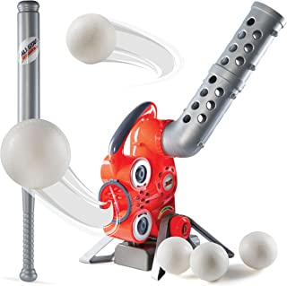 Prextex Electronic Baseball Pitching Machine – Height Adjustable – Ball Pitches Every 7 Seconds 5 Plastic Baseballs Included