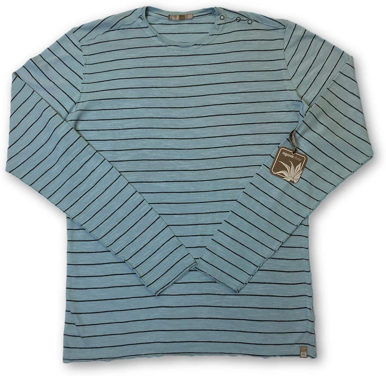 Agave Silber Mainshock Knitwear in Blau Stripe - M