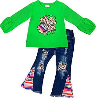AMK Baby Toddler Little Girls St. Patrick's Day Outfit Set - Little Lucky Lady Top Leggings Set