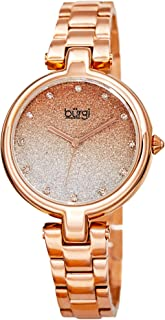 Burgi BUR226 Designer Women's Watch - Stainless Steel Chain Link Band, Glitter Dial, Swarovski Crystal Markers -Fashion Bracelet Wristwatch