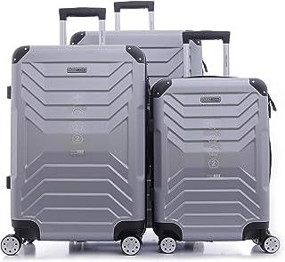 PARAJOHN Helium 3-Piece Hard Trolley Luggage Set Silver