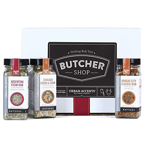 Urban Accents BUTCHER SHOP, Gourmet Grilling Spices Rub Gift Basket (Set of 3) - Ultimate BBQ Rubs and Sauces Gift for Grill Masters- Perfect Grilling Spice Sets for Men, Weddings or Any Occasion