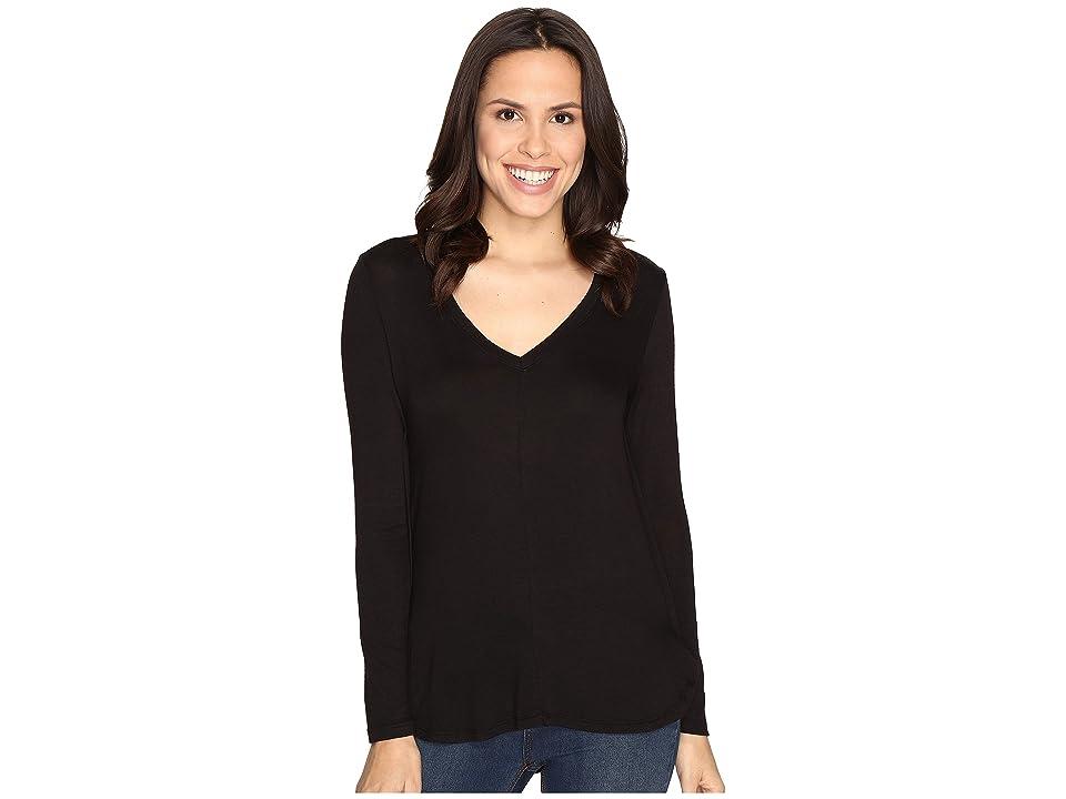 B Collection by Bobeau Alice Long Sleeve Tee (Black) Women's T Shirt