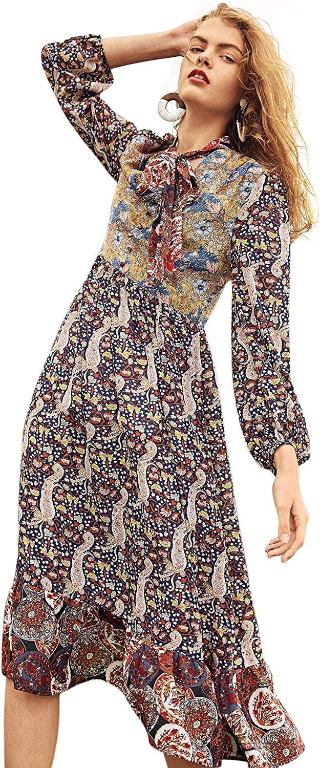 Floerns Women's Floral Print Bishop Sleeve Ruffle Hem Flowy Party Long Dress