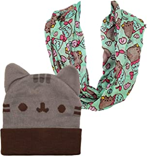 Pusheen Beanie Hat and Scarf Beanie Hat with Ears Infinity Scarf (2 Piece Combo Set)