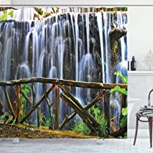 Ambesonne Waterfall Decor Collection, Tropical Park Falling Streams Plants Waterfall Scenery, Polyester Fabric Bathroom Shower Curtain Set with Hooks, Grey Green White