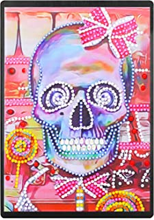 Notebook with Diamond Painting Cover Diary Book DIY Journal Book 104 Pages A5 Plain/Blank Book for Writing and Planning Smile Skull