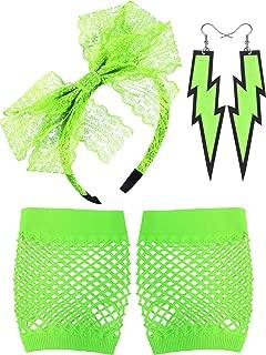 80's Lace Headband Neon Earrings Fingerless Fishnet Gloves for 80's Party