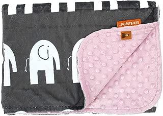 Dear Baby Gear 豪华婴儿毯灰色白色大象图案 White Elephants, Pink 38 x 29 Inch
