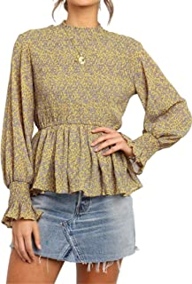 SZIVYSHI Long Sleeve Shirred Ruched High Mock Neck Ruffled Ruffle Hem Floral Blouse Shirt Peplum Top
