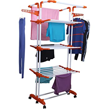 Magna Homewares Heavy Duty Steel 4 Layers 4 Poles Super Grandis Cloth Drying Stand with Wheels and Cloth Hanger Holders