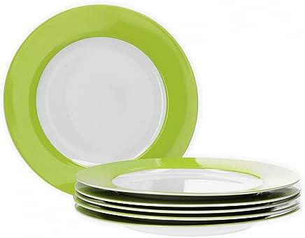 Preisvergleich für Van Well 6er Set Speiseteller Essteller flach Serie Vario Porzellan - Farbe wählbar, Farbe:grün