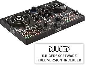 Hercules DJControl Inpulse 200 USB Ideal para Aprender a Mixer 2Pistas con 8Pads/Tarjeta de Sonido para PC/Mac