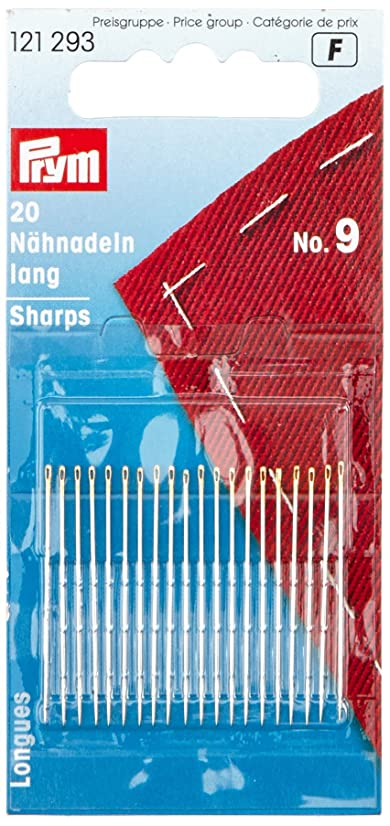 PRYM 121293 Hand sewing needles sharps with gold eye No. 9; 34 x 0.60 mm, 20 pieces