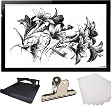 Huion Thin light PAD 5mm LED Drawing Copy Tracing Stencil Board Table Tattoo Pad with Holder Drawing Board Clip and 6-Piec...