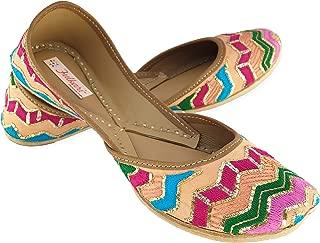 Fulkari Women's Rangoli Multicolored Gold Genuine Soft Leather Jutis | Bite and Pinch Free Jutis | Punjabi Jutti for Ladies Flat Mojari | Bridal Ethnic Flats for Girls | 35