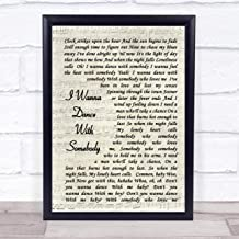 CEDBUYOO Whitney Houston I Wanna Dance with Somebody Vintage Script Song Lyric Quote Print 10