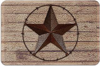 Welcome Front Door Mat, Heavy Duty PVC Doormats Brown Western Texas Iron Pentagram Non Slip Indoor Outdoor Throw Rug Pad V...