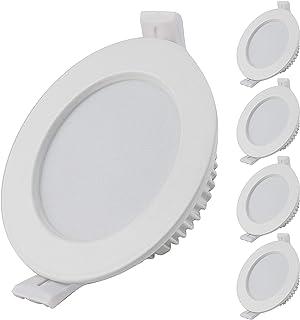 Spot LED ultra plat 30 mm Profondeur d'encastrement I avec 5 spots LED 5 W 3000 K Blanc chaud 450 lm 230 V IP44 Intensité ...