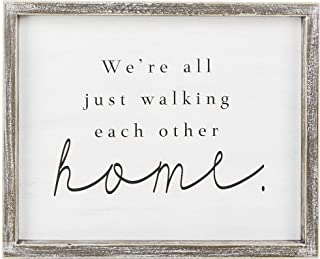 Walking Home Black and White 12 x 10 Wood Tabletop Decorative Framed Sign