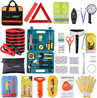 Car Roadside Emergency Kit with Jumper Cables, Auto Vehicle Safety Road Side Assistance Kits, Winter Car Kit for Women and Men, with Dial Tire Pressure Gauge, Car Repair Tool Set