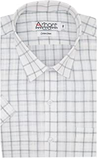 aec439a3 Arihant Men's Checkered Cotton Linen Half Sleeve Regular Fit Formal Shirt