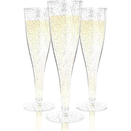 Amazon Com Plastic Champagne Flutes Disposable 100 Pack Silver Glitter Plastic Champagne Glasses For Parties Glitter Clear Plastic Cups Plastic Toasting Glasses Mimosa Glasses Wedding Party Bulk Pack Champagne Glasses