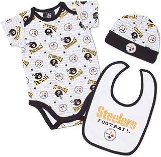 NFL Pittsburgh Steelers Bodysuit, Bib & Cap Set Infant/Toddler Boys'