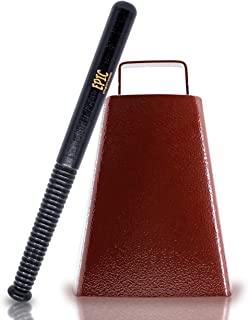 """Cow bell with Handle 7 inches and 11"""" Cowbell Beater Stick - Made of Steel with Copper Finish - Antique Cow bells Noise Makers for Football Games, Sporting Events, Celebrating and More"""
