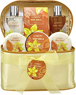 Bath and Body Gift Basket For Women & Men – Warm Vanilla Sugar Home Spa Set, Includes Fragrant Lotions, Exfoliating Bath Soaps, Hand Soap with Beads, Reusable Travel Cosmetics Bag and More