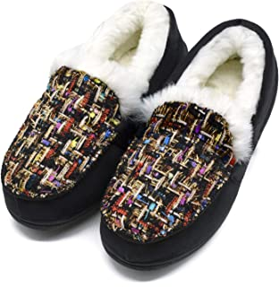 Dames-Slippers-Fluffy-Mocassin-Slippers-Traagschuim Loafers Schoenen Dames Faux Fur Gevoerde Slip-On Slippers Thuis Tweed ...