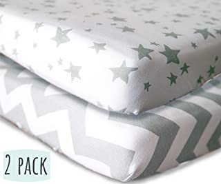 Standard Crib Sheets Fitted - 2 Pack - 100% Jersey Cotton Universal Crib Sheets for Baby Boy and Baby Girl - Ultra Soft & Stylish Grey Stars and Chevron Design