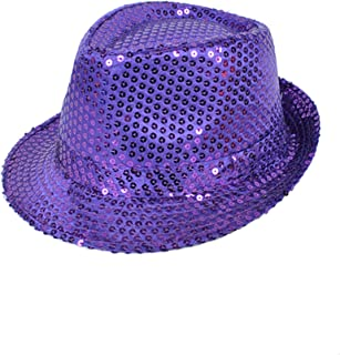 042c764162325 Colorful Sequined Fedora Hat (Purple)