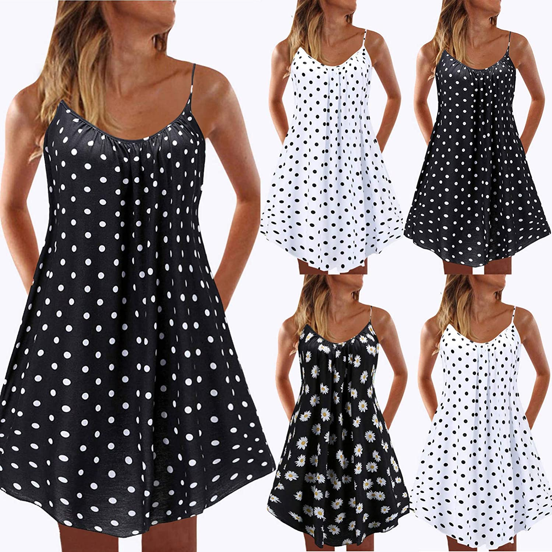 Toeava Women Summer Tank Dress Womens Sexy Elegant Printing Sleeveless Spaghetti Strap Dress Loose Flowy Swing Dresses