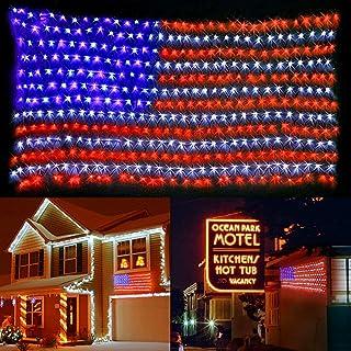 MZD8391 American Flag Lights, 420 Super Bright LEDs Flag Net Light,Waterproof US Flag Light for Memorial Day Independence ...