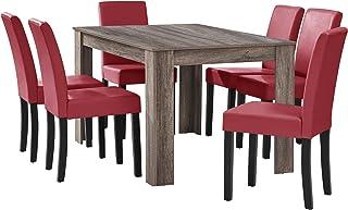 [en.casa] Table à Manger en chêne Ancien avec 6 chaises Rouge foncé Cuir-synthétique rembourré 140x90