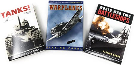 Warplanes, Tanks and Battleships Picture-Playing Card Assortment-Vintage 3 Deck Set or Gift Pack