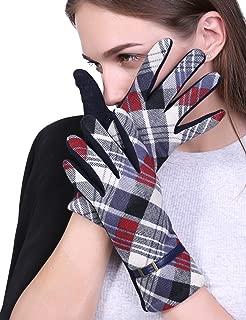 Women Winter Gloves Touch Screen Thick Warm Adult Hand Outdoor Mittens Plaid Gloves (Fleece Lining)