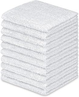 (10 Pack, White) - DecorRack 100% Cotton Wash Cloth, Luxurious Soft, 30cm x 30cm Ultra Absorbent, Machine Washable Washclo...