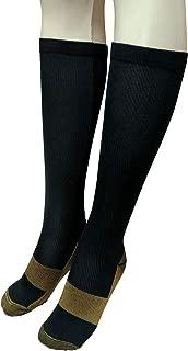 Graduated Copper Compression Socks Anti Fatigue Knee High Socks for Men Women Pain Ache Relief Stockings-15-20 mmHg (Black, S & M)