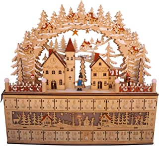 One Holiday Way LED Lighted Wooden Bavarian Village Scene Advent Calendar - Christmas Decoration with 24 Storage Drawers