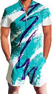 Goodstoworld Mens 2019 New Designed Rompers 3D Fashion Print Short Sleeve Zip One Piece Summer Jumpsuit with Pocket S-XXL