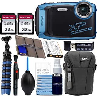 Fujifilm FinePix XP140 Waterproof Digital Camera (Blue) with Advanced Accessory Bundle Includes 2X 32GB SD Card + Camera Case + Flexible Gripster Tripod + Card Reader + More