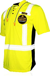 KwikSafety (Charlotte, NC) ESTIMATOR (Y-Neck Button with POCKET) Class 2 ANSI High Visibility Safety Shirt Fishbone Reflective Tape Construction Security HiVis Clothing Men Short Sleeve Yellow XL